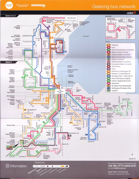 Network map inside the September 2009 Geelong bus timetable booklet