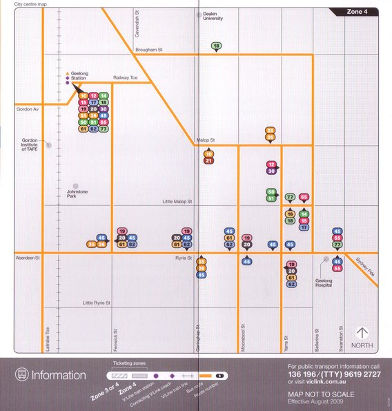 Geelong CBD network map inside the September 2009 Geelong bus timetable booklet