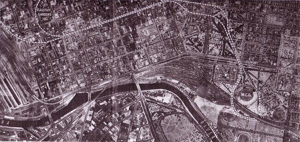 Project Phoenix map from 1950 showing the proposed City Loop