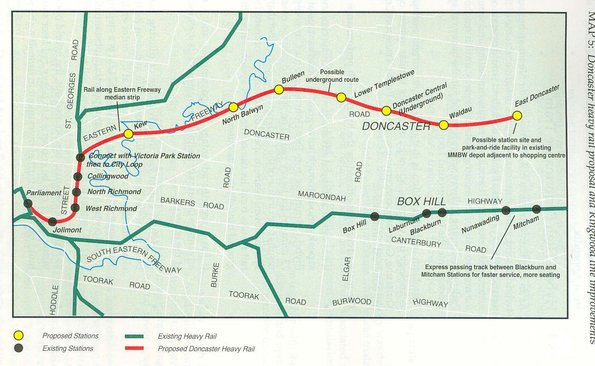 Doncaster line report 1991 - proposed railway line route
