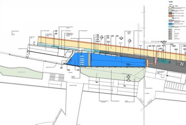 Diagram showing the new entry to be built between Flinders Street Station platform 10 and the Yarra