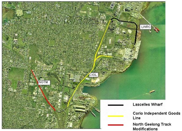 Proposed freight rail extension projects at North Geelong