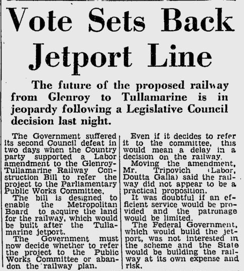 Back when Melbourne Airport was being built, rail link rejected by federal government and state Labor opposition (The Age - May 20, 1965)