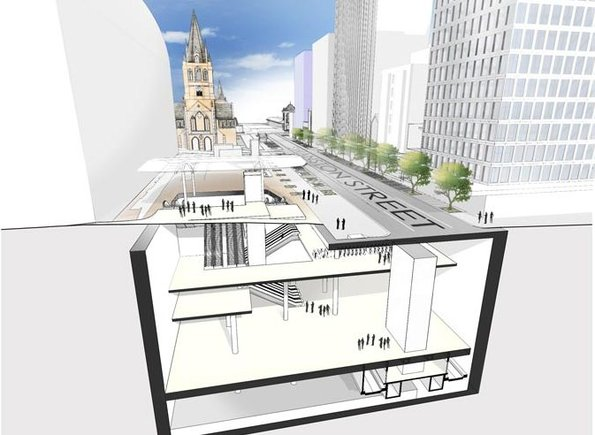CBD South station, cutaway view of escalator access at City Square