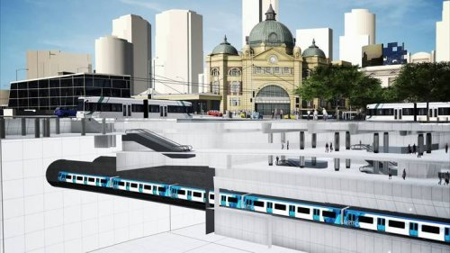 CBD South station, cutaway view at Flinders Street end
