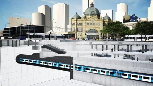 CBD South station, cutaway view at Flinders Street end