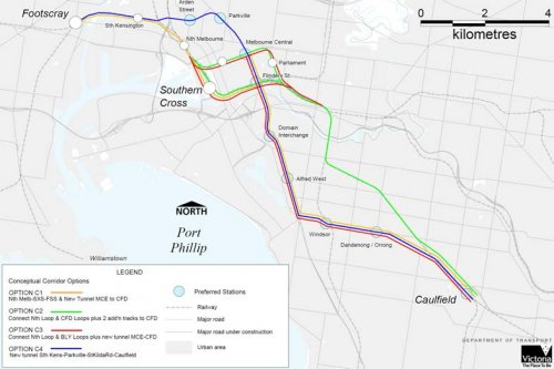 Figure 4-1 Melbourne Metro corridor options