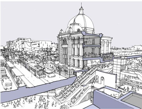 Figure 5-10 Concept for CBD South Station Interchange with Flinders Street Station