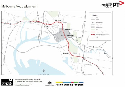 Overall map of the Melbourne Metro rail tunnel alignment