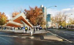 Domain station, artists impression of western entrance, looking north on St Kilda Road
