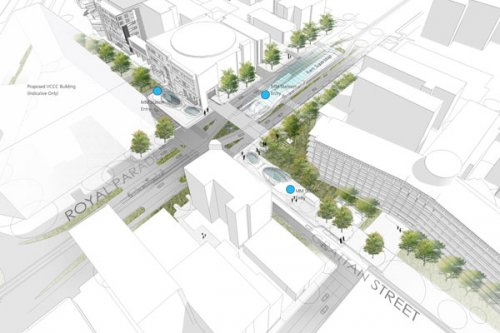 Parkville station artists impression, overview at corner of Royal Parade and Grattan Street
