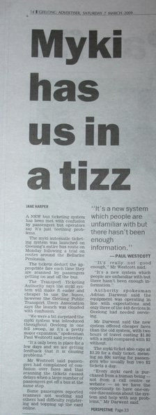'Myki has us in a tizz' - Geelong Advertiser Saturday March 7 2009