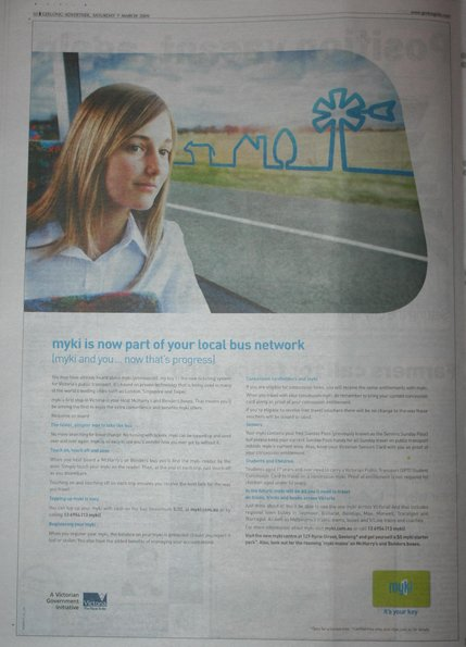 Full page myki rollout ad in the Geelong Advertiser - March 7 2009