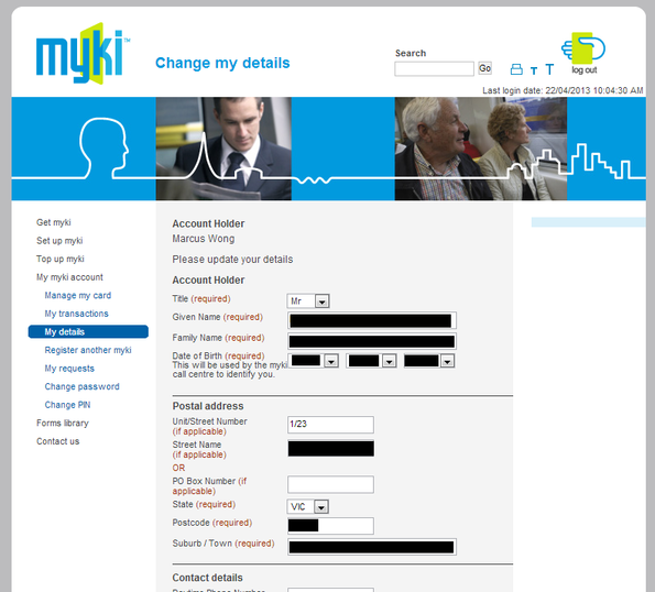 Mandatory fields for change of myki details
