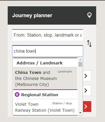 PTV Journey Planner finally finds Chinatown