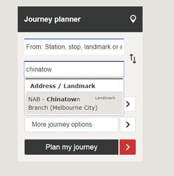PTV Journey Planner recommends a bank branch instead of Chinatown