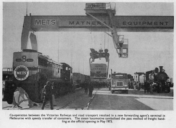 X44 at the unveiling of the Mayne Nickless 'METS' (Maynerail Equipment Transfer System) depot at South Dynon in May 1973