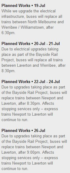 Bayside Rail Project works on the Werribee line - July 2014