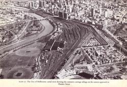 Overview of the Jolimont railway workshops and sidings circa 1969