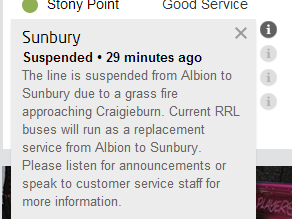 Sunbury line suspended due to a grassfire beside Craigieburn signal box