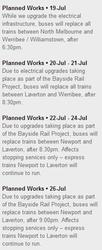 Noticed of Bayside Rail Project works on the Williamstown and Werribee lines