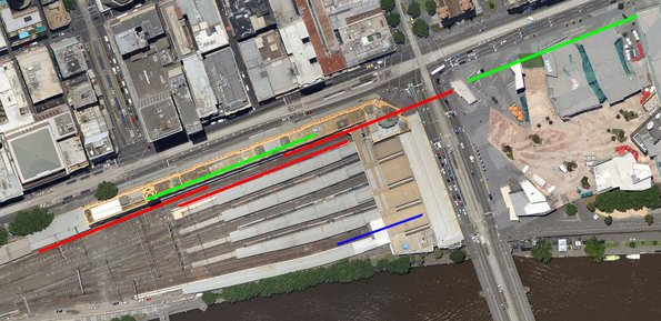 Flinders Street Station annotated with six-car train lengths