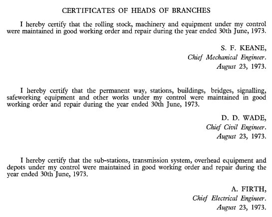 Heads of each Victorian Railways department certify that their infrastructure has been maintained in good order for the year ended 1973