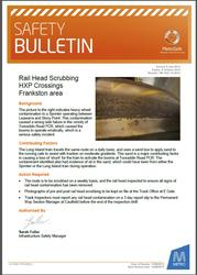 Metro Trains safety bulletin regarding rail head contamination causing a wrong side failure at level crossings on the Stony Point line