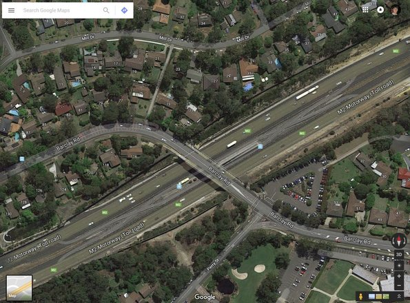 M2 Hills Motorway busway crossovers for the Barclay Road Interchange bus stop