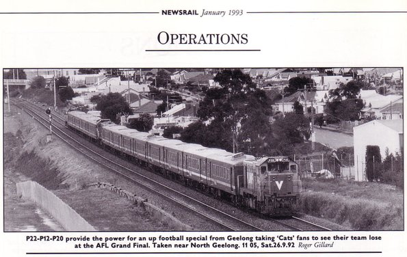V/Line football special with P22-P12-P20 leading three 4-car FSH carriage sets at North Geelong