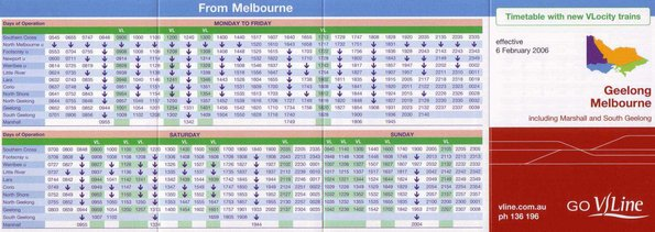 February 2006 VLine Geelong line timetable featuring VLocity trains - from Melbourne
