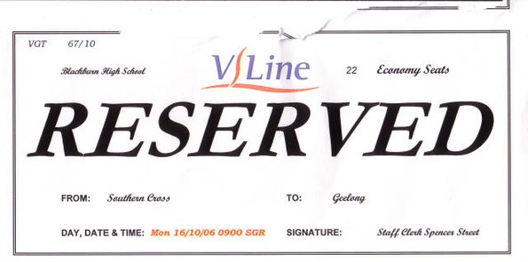 V/Line seat reservation notice from 2006