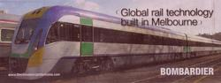 'Global rail technology built in Melbourne' advertisement from Bombardier