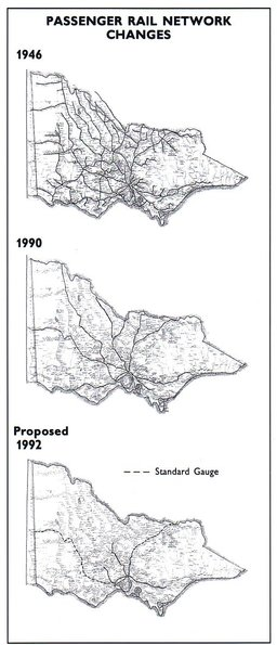 Proposed Victorian country rail network following the election of the Kennett Government in 1992