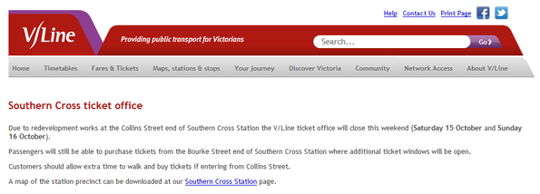 Want to buy V/Line tickets at Southern Cross on October 15 and 16, 2011?