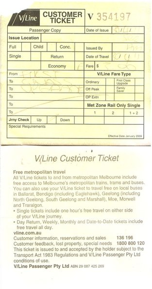 Paper V/Line ticket, issued by a conductor onboard a train