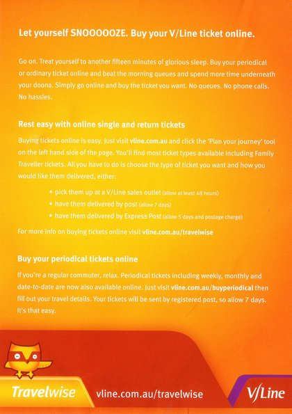 V/Line flyer advertising online purchase of tickets